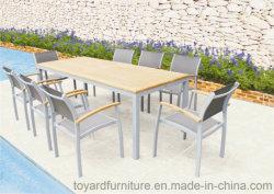 Modern Euro Garden Furniture Outdoor Patio Dining Set 9 Piece with Teak Wood / Gray