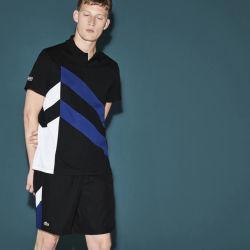 Men's Sport Tennis Colorblock Band Tech Piqu Polo Shirt