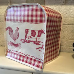 Red Gingham Farmyard Animals PVC Oilcloth Kitchen Aid Professional Series Food Mixer Appliance Cover