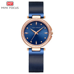 Mini Focus OEM Custom Logo Female Steel Mesh Band Waterproof Sport Ladies Watch with Japan Movement