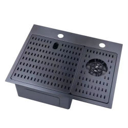 New Design Black Stainless Steel Handmade Kitchen Sink with Automatic Cup Rinser