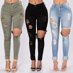 US Plus Size Womens Zipper Fly Side Lace Up Jeans Skinny Straight Pants Eleastic