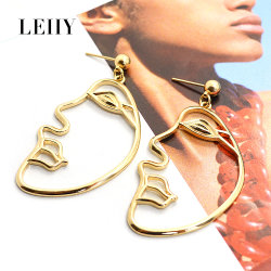 Fashion New Design Personalized Portrait Shape Gold/Silver-Plated Drop Earrings