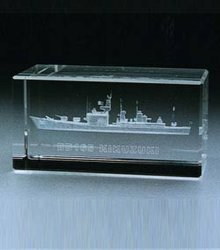Crystal Blank Block with 3D Boat Engraving (ND-009)