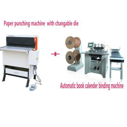 Industrial Heavy Duty Paper Hole Punching Machinery + Automatic Book / Calender Binding Machine