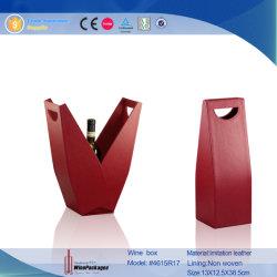 Decorative V Shape Leather Custom Wine Bottle Case (4615R12)