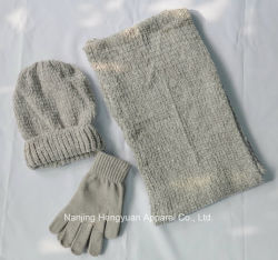 4214e7c8bf9 Fashion Promotional Chenille Beanie Knitted Sets Gloves Scarf Hats