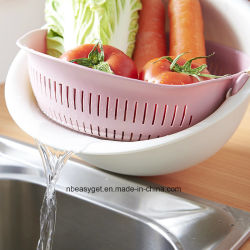 1PC 2 in 1 Vegetable Basin Wash Rice Sieve Fruit Bowl Fruit Basket Kitchen 3 Colors Esg10285