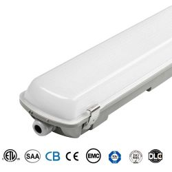 Moisture Proof Warehouse Luminaire Emergency Battery Ip65 Led High Bay Lighting Fixture Food Plant 4ft Linear