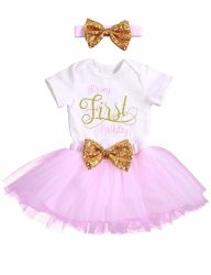 748c5900d26 Baby Girl Outfit Smash Shinny Romper Sequin Bow Tutu Princess Pink Short  Skirt with Headband Clothes