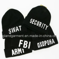 Warm Acrylic Knitted Military Security White Embroidery Black Hat