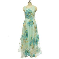Blue Color Ladies Chiffon Floral Printing Dress, Wholesale OEM