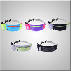 Fashion Promotion Fitness Waterproof Running Belt with Water Bottle Reflective Sling Bag and Light Weight Sport Fanny Pack Unisex Waist Bag