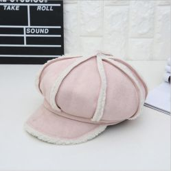 Warm Winter Vintage Beret Suede Lamb Stitching Girl's Caps