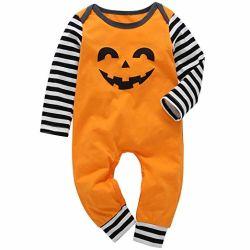 6e5d080143c Halloween Infant Toddler Baby Boys Girls Jumpsuit Pumpkin Smile Face  Bodysuit Long Sleeve Striped Romper Fall