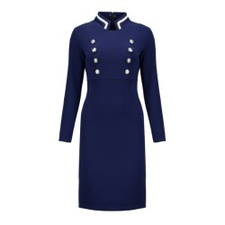 China Factory Collar Slimming and Button-Wrapped Professional Women Dress