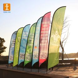 Four Colors Polyester Printed 2 Sided 15' Feather Flag