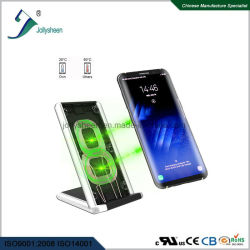 First Patent Design Latest Hot-Selling Fast Wireless Charger Fashionable with LED Charming Breathing Blue Lamp and Multi-Protection Function.