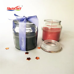 Large Perfumed Transparent Decorative Glass Cup Candle with Crystal Lid