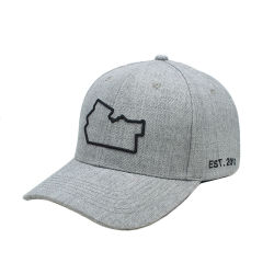 516c53f889cf9 Custom 3D Embroidered Cap Wool Acrylic Heather Grey Baseball Hat