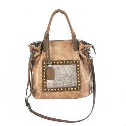 Whole Price Tan Leather Studs Lady Soft Handbags