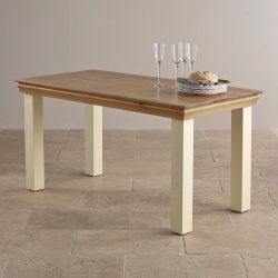 Painted White Oak Solid Wood Dining Table
