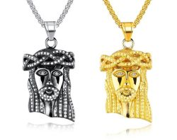China mens chains and pendants mens chains and pendants mens stainless steel gold silver statement jesus face head pendant necklace box chain aloadofball Images