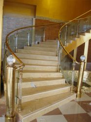 Fashion Design Stainless Steel Wood Spiral Stair Steps Baluster Railing