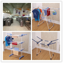 6.2kg Blue Color Powder Coated 3-Tier Clothes Drying Rack Laundry Drying Rack (JP-CR300W)