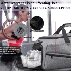 45L Gym Bag Sports Duffle Bag with Shoes Compartment Waterproof Large Travel Duffel Bags Weekender Overnight Bag for Men Women