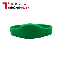 G048-195 MIFARE 13.56MHz S50 Chip RFID 125kHz Silicone Wristband with Oblate Head