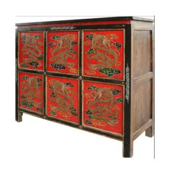 Antique Tibetan Cabinet With 4 Doors Lwb930