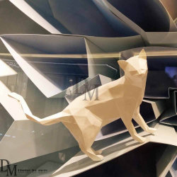 Fiberglass Material Custom White Cat Statues for Retail Window Display