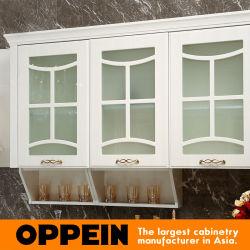 Oppein Modern E0 White PVC L-Shape Wholesale Wood Kitchen Cabinets (OP15-054)