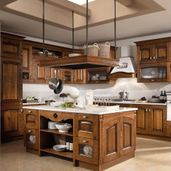 China Self Embly Modern Furniture Design Wooden Cupboard Solid Wood Walnut Kitchen Cabinets