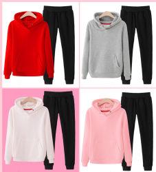 CVC 80/20 280 GSM Blank Custom Design Long Sleeve Sweatshirt Sports Set