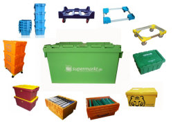 Attached Lid Nest and Stack Container Totes, Storage Plastic Container (PK6141, PK64315, PK64320)