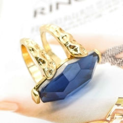 Fashion Jewelry Big Blue Artificial Glass Gems Engagement Rings