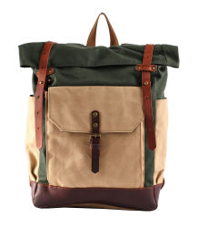 Waxed Laptop Hiking Travel Sports Rucksack Canvas Backpack