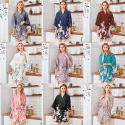 Wholesale Floral Silk Set Sleepwear Viscose Short Women Pajamas