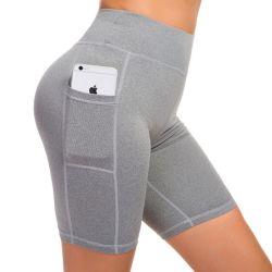 Women's Yoga Short Side Pockets High Waist Workout Running Sports Shorts