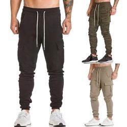 Men Sweatpants Cargo Work Trousers Jogger Sportwear Jogging Pants