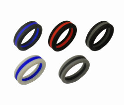 Double Color Wedding Rings Food Grade Custom Silicone Ring for Sports