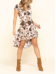 Women's Lavender Floral Peasant Hi-Low Dress Good Price
