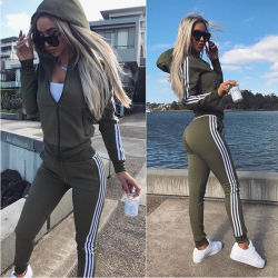 High Quality Winter Woman Long Sleeve Top Two Piece Set Casual Striped Sexy Embossed Slim Yoga Fitness Sports Wear