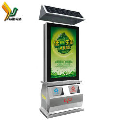 Two Side Video Play Advertising Solar Powered Garbage Can