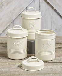 Small Kitchen Canisters for Sugar Tea Coffee Metal Tin