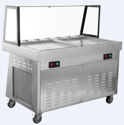 China Wholesale Factory Double Flat Pans Fried Ice Cream Machine