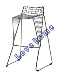 Modern Metal Dining Restaurant Stackable Strings Wire Bar Chair