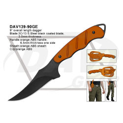 """9"""" Overall Length Orange Tactical Dagger with ABS Handle"""